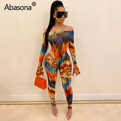 Colourful Womens Backless Hollow Out Print Irregular Jumpsuits Rompers Overalls