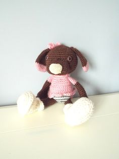 Crochet puppy dog in pink dress with white shoes. by NicheOfArt