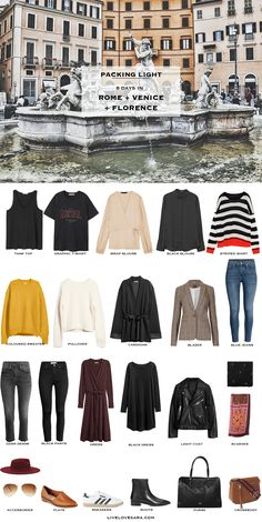 8 Days in Rome, Venice, and Florence. Packing Light List. What to pack. Fall Travel Capsule Wardrobe 2017
