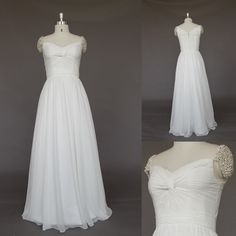 Simple Chiffon Ivory A-line Beach/Destination Wedding Dress, Wedding gown with Cap sleeves and Sweetheat Neckline