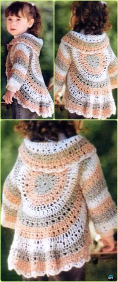 Crochet Hippie Vest Shrug Cardigan Free Pattern -Crochet Little Girl Circle Vest Sweater Coat Free Patterns
