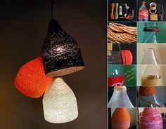 Abat-jour bouteille plastique et ficelle ( ou laine ou fil )