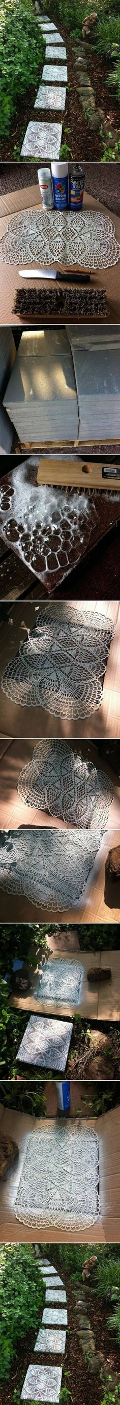 DIY Lace Like Stepping Stones-get creative with this one!   , , , , , stone