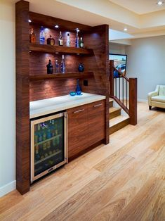 Basement Bar- don't really like the countertop and cabinets, just the idea. Basement Bar Plans, Basement Bar Designs, Modern Basement, Home Bar Designs, Basement Bedrooms, Basement Renovations, Basement Ideas, Basement Bars, Basement Kitchenette