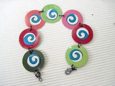 Candy Colored Swirl Disc BraceletRecycled Tin by eaststreettins, $34.00 #jewelry #bracelet