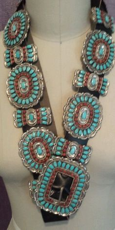 N A Navajo Old Pawn Turquoise Coral Silver Concho Belt Signed Begay Needlepoint | eBay