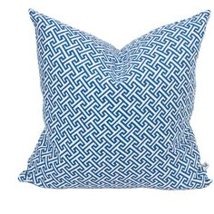 Nina Kullberg - Athens Riviera Blue Cushion (695 CNY) ❤ liked on Polyvore featuring home, home decor, throw pillows, blue home accessories, blue home decor, blue throw pillows, blue accent pillows and patterned throw pillows