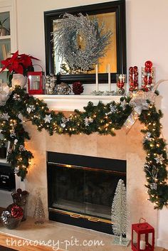 silver and red Christmas Mantle, swap Christmas mantle :: love the lighted garland as the fireplace is on the opposite side of the room from where our tree will be displayed Christmas Mantels, Noel Christmas, All Things Christmas, Christmas Crafts, Christmas Garlands, Christmas Fireplace Decorations, Outdoor Christmas, Rustic Christmas, Fire Place Christmas Decor