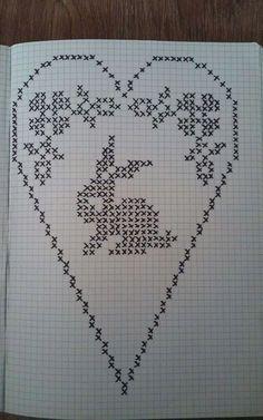 Cross Stitch Heart, Cross Stitch Cards, Cross Stitch Embroidery, Filet Crochet, Crochet Diagram, Easter Crochet Patterns, Crochet Doilies, Cross Stitch Designs, Cross Stitch Patterns