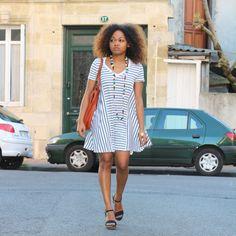 Striped dress / robe marinière Zara - blog mode Bordeaux. Pompompidou