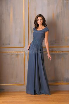 Jasmine Bridal Mother of the Bride/Groom Dress Jade Style J175004 in Deep Blue/Purple. Chic and stylish, this special occasion dress is perfect for your next event. This Tiffany chiffon gown has a boat neckline, A-line skirt and beading detail on the sash and bodice.