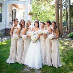 Champagne bridesmaid gowns // Matt Ramos Photography