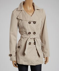Another great find on #zulily! Holstark Stone Belted Pea Coat by Holstark #zulilyfinds