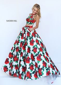 1c6f0ba732 2016 Sherri Hill 50115 Two Piece Floral Printed Halter Prom Dress