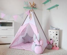 Set of Teepee Wigwam Kids Teepee Playhouse Tee pee Kids Childrens Teepee, Kids Teepee Tent, Girl Room, Girls Bedroom, Room Wall Decor, Play Houses, Diy For Kids, Montessori, Toddler Bed