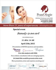 """Don't miss our special event """"Beauty is an art"""" on April Botox Injections, Special Events, Promotion, Presentation, Invitations, Beauty, Art, Art Background, Kunst"""