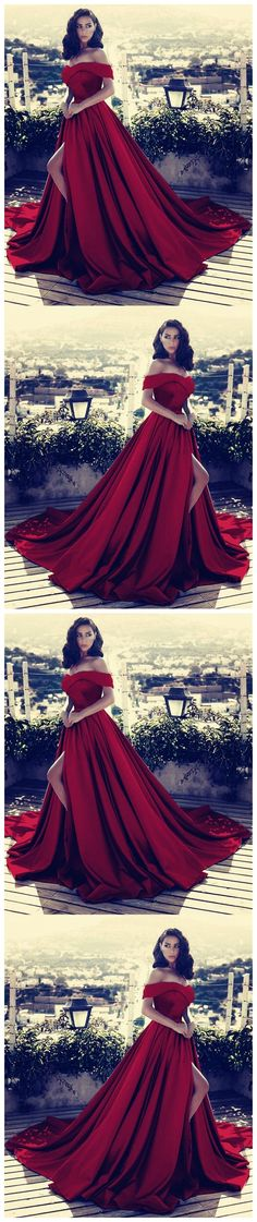 V-neck Off The Shoulder Long Satin Prom Dress 2018 Split Evening Gowns G006#prom #promdress #promdresses #longpromdress #promgowns #promgown #2018style #newfashion #newstyles #2018newprom  #red #split#offshoulder#eveninggowm #sexy