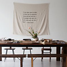 Screen Printed Banner by Simplesong design  Sunday Supper Studio   Williamsburg,Brooklyn   photography by Karen Mordechai