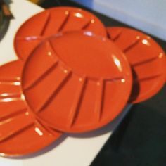 HALF OFF TONS OF ITEMS - SHOP www.etsy.com/shop/pippyschoice  Bigsale     MELMAC PLATES, set of 4 orange divider plates -  Perfect for appetizers and drink - Brady Bunch