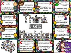 Music Growth Mindset Bulletin Board  Think Like a MusicianLooking for a way to encourage growth mindset in your music classroom?  This music bulletin board is a perfect reminder for students to change their mindsets and improve their attitudes.  Included in this download are 10 negative statements that you may hear students say.