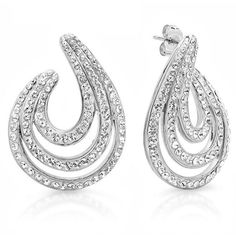 Amanda Rose Collection Sterling Silver Swirl Hoop Earrings With... ($51) ❤ liked on Polyvore featuring jewelry, earrings, nocolor, sterling silver earrings, sterling silver hoop earrings, earring jewelry, sterling silver jewelry and swarovski crystal jewellery