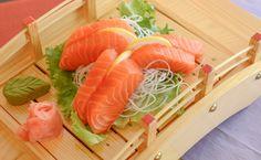Salmon sashimi Gluten Free Sushi, Gluten Free Soy Sauce, Salmon Sashimi, Restaurant, Japanese, Ethnic Recipes, Food, Japanese Language, Diner Restaurant