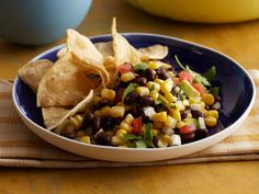Black Bean Salsa recipe from Paula Deen - so good and so healthy! I made it without avacado and it's great!