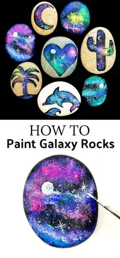 How to make galaxy painted rocks Heisser Stein, How To Paint Rocks, Rock Painting Ideas For Kids, How To Paint Galaxy, Galaxy Painting Diy, Painted Rock Cactus, Painted Rocks Kids, Painted Stones, Galaxy Projects