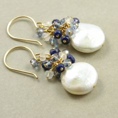 White Coin Pearl Earrings Sapphire Gold June by NansGlam on Etsy, $52.00