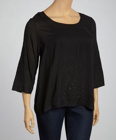 Look what I found on #zulily! Black Embroidered Scoop Neck Three-Quarter Sleeve Top - Plus #zulilyfinds