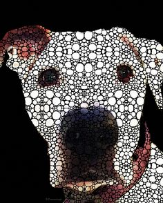 Stone Rock'd Dog 2 By Sharon Cummings by Sharon Cummings #dogs #pitbulls