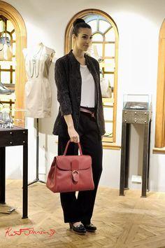 Casey Vidalenc Violet silk jacket, Delvaux hand made Red leather designer bag