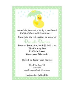 Customizable Rubber Ducky Baby Shower by smilesandsquiggles, $6.00
