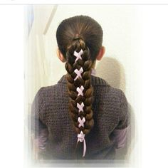 """Check out this cute braided ponytail by @merobraids! Love it! Tutorial on YouTube. Search for ""illusion braid with ribbon,"""" Photo taken by @hair4myprincess on Instagram, pinned via the InstaPin iOS App! http://www.instapinapp.com (05/26/2015)"