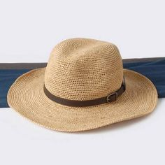 Wide brim panama hat with leather buckle for women straw sun hats beach  package 57f5d6b194dd