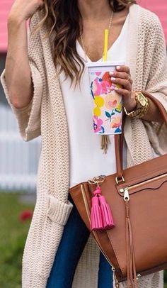 Long line knit cardigan, plain white V neck, denim, brown handbag