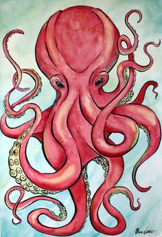 Red Octopus Watercolor Painting by WattersEdge on Etsy