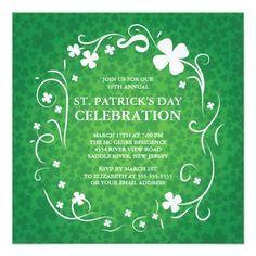 "Elegant Shamrock St. Patrick's Party Invitation 5.25"" Square Invitation Card"
