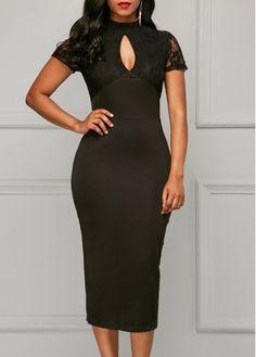 Lace Panel Short Sleeve Keyhole Neckline Black Dress on sale only US$34.42 now, buy cheap Lace Panel Short Sleeve Keyhole Neckline Black Dress at liligal.com