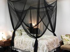 Black Four Corner Canopy Bed Netting Mosquito Net Full Queen King Size Bedding ** For more information, visit image link.