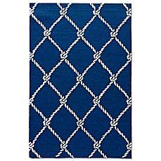 image of Jaipur Coastal Lagoon Fish Net Indoor/Outdoor Accent Rug in Blue/Cream