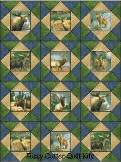 Moose Elk Wilderness Animal Men's Hunting Fabric Easy Pre-Cut Quilt Blocks Top Kit