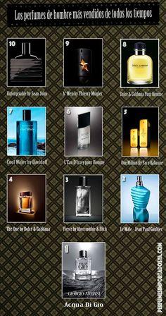 Fragancias geniales y atemporales que han logrado proclamarse como los perfumes de hombre más vendidos durante años, a pesar de que los gustos de los consumidores sigan cambiando. #perfumes #top #infografía