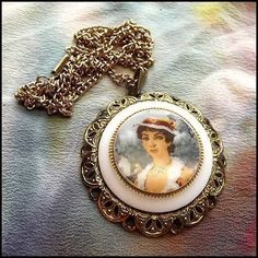 Cameo Necklace Victorian Lady German Pendant 1950s Vintage Jewelry $65