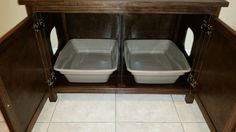 Odor Free Double Cat Litter Box Cabinet. Ideal for multiple cats. Holds two cat trays. Divided. Made in USA. Wood, not MDF. NO assembly needed. Ebony
