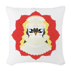 White Weddguin Woven Throw Pillow #Penguin #Valentine #Love #ValentinesDay #Kawaii #Romance #Cute #Wedding #WhiteWedding #Gift #Present #HenNight #Lace #Roses #CafePress #Bride #Bridal #Romantic