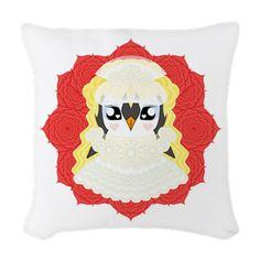 White Weddguin Woven Throw Pillow #Penguin #Valentine #Love #ValentinesDay #Kawaii #Romance #Cute #Wedding #WhiteWedding #Gift #Present #HenNight #Lace #Roses #CafePress #Bride #Bridal #Romantic