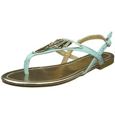 Womens Flat Sandals T-Strap Metal Accent Slingback Thong Sandal Mint