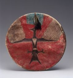 Joseph No Two Horns, (He Nupa Wanica), shield (Hunkpapa Lakota, Standing Rock Reservation, North Dakota, 1885), Native tanned leather, feathers, pigment, ink, sinew, cotton, plant fiber, wood (courtesy Metropolitan Museum of Art, promised gift of Charles and Valerie Diker, photo by Dirk Bakker).