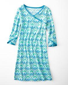 Asian Wrap Three-Quarter-Sleeve Gown